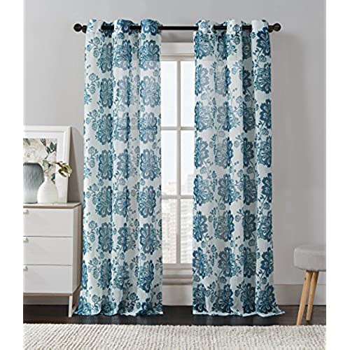 GoodGram 2 Pack Floral Chic Luxurious Curtain Panels By Assorted Colors Teal