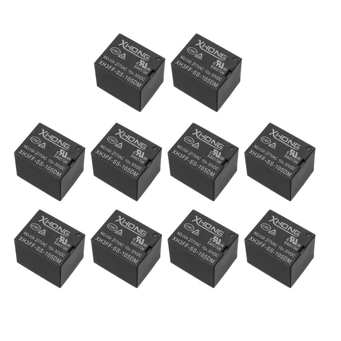 uxcell DC5V Coil 4Pin Mini PCB Electromagnetic Power Relay XH3FF-SS-105D 10A 277VAC 10A 30VDC 10Pcs