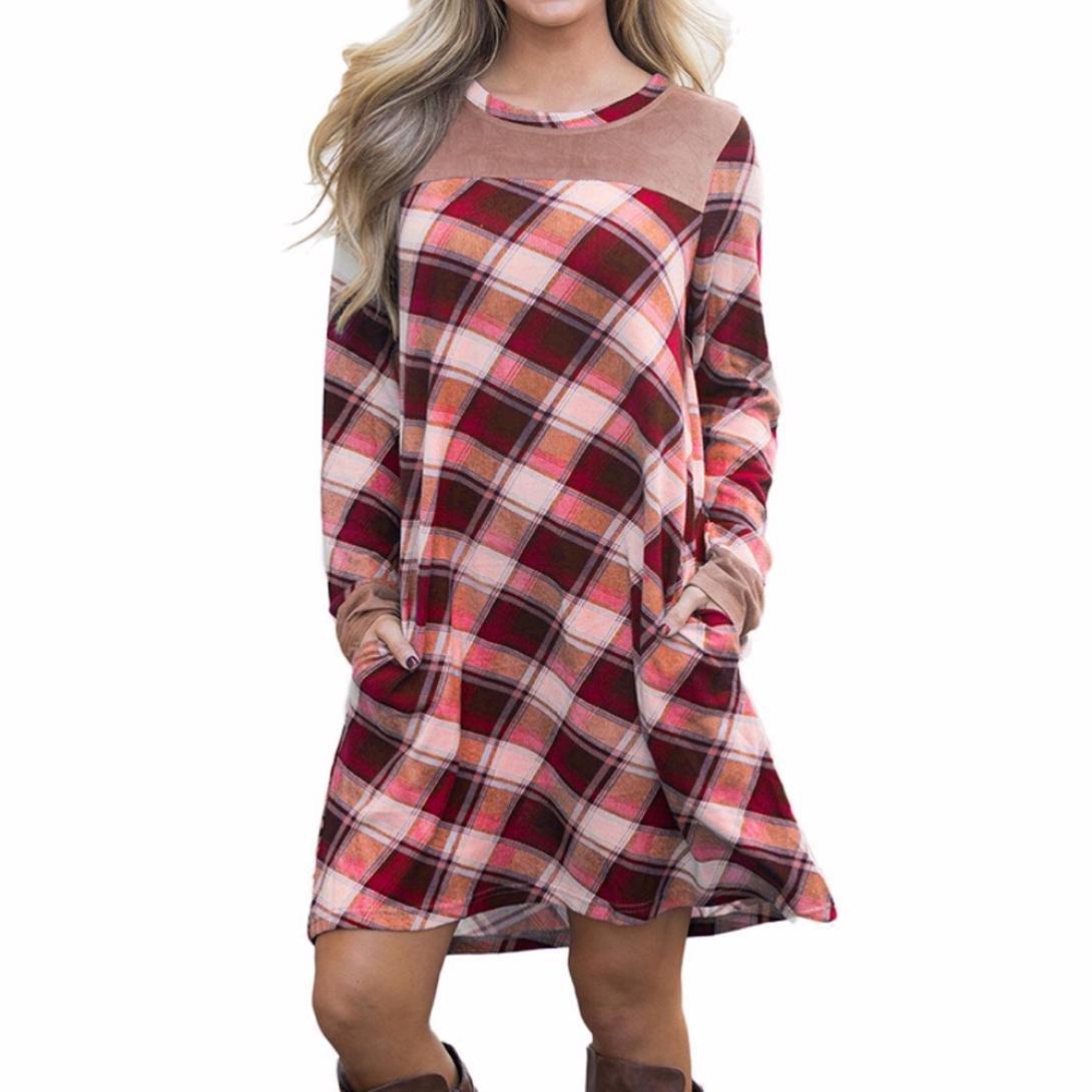 BCDshop Women's Plaid Patchwork Dress Flared Tunic Mini Dress With Pocket T-Shirt (L)