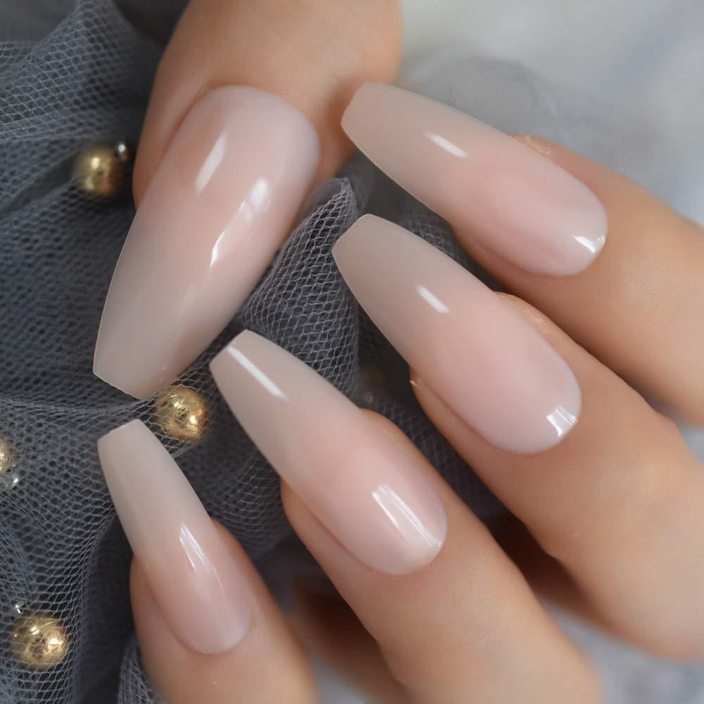 LANGMAN Künstliche Nägel Nude Extra Long Fake Nails Sarg Full ...