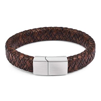 cc25126bb99c3 DALARAN Bracelet en Cuir Marron pour Homme Bracelet Fait Main Bracelet en Acier  Inoxydable avec Fermoir