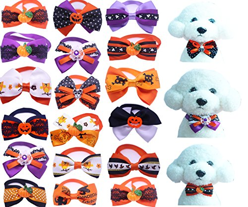 Yagopet 20pcs/pack Small Dog Bow Ties Cat Dog Bowties Collar for Halloween Festival Dog Ties Dog Grooming -