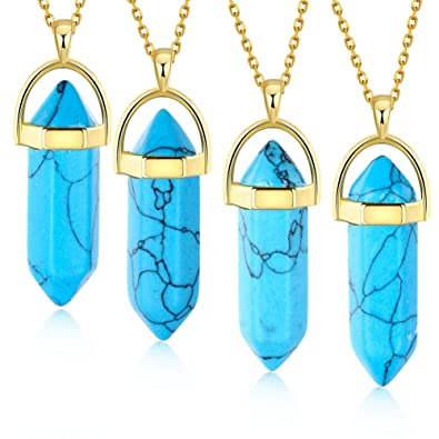 Amazon bullet shape gemstone pendants necklaces crystal natural bullet shape gemstone pendants necklaces crystal natural quartz stone hexagonal chain necklace fashion jewelry sets aloadofball Image collections