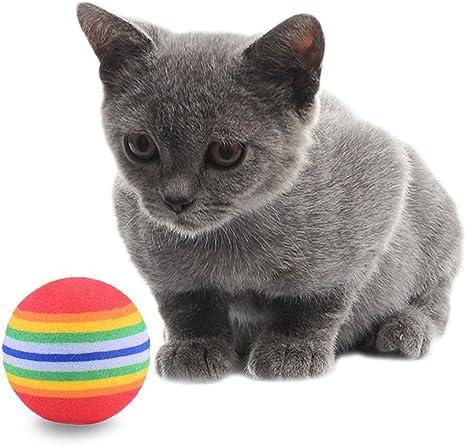10pcs Juguete suave espuma gato bola arco iris Color pelota de ...