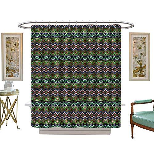 Halloween Shower Curtain,Native American,Aztec Motif Rhombus,Water Repellent, Machine Washable - Hotel Quality72 W x 72