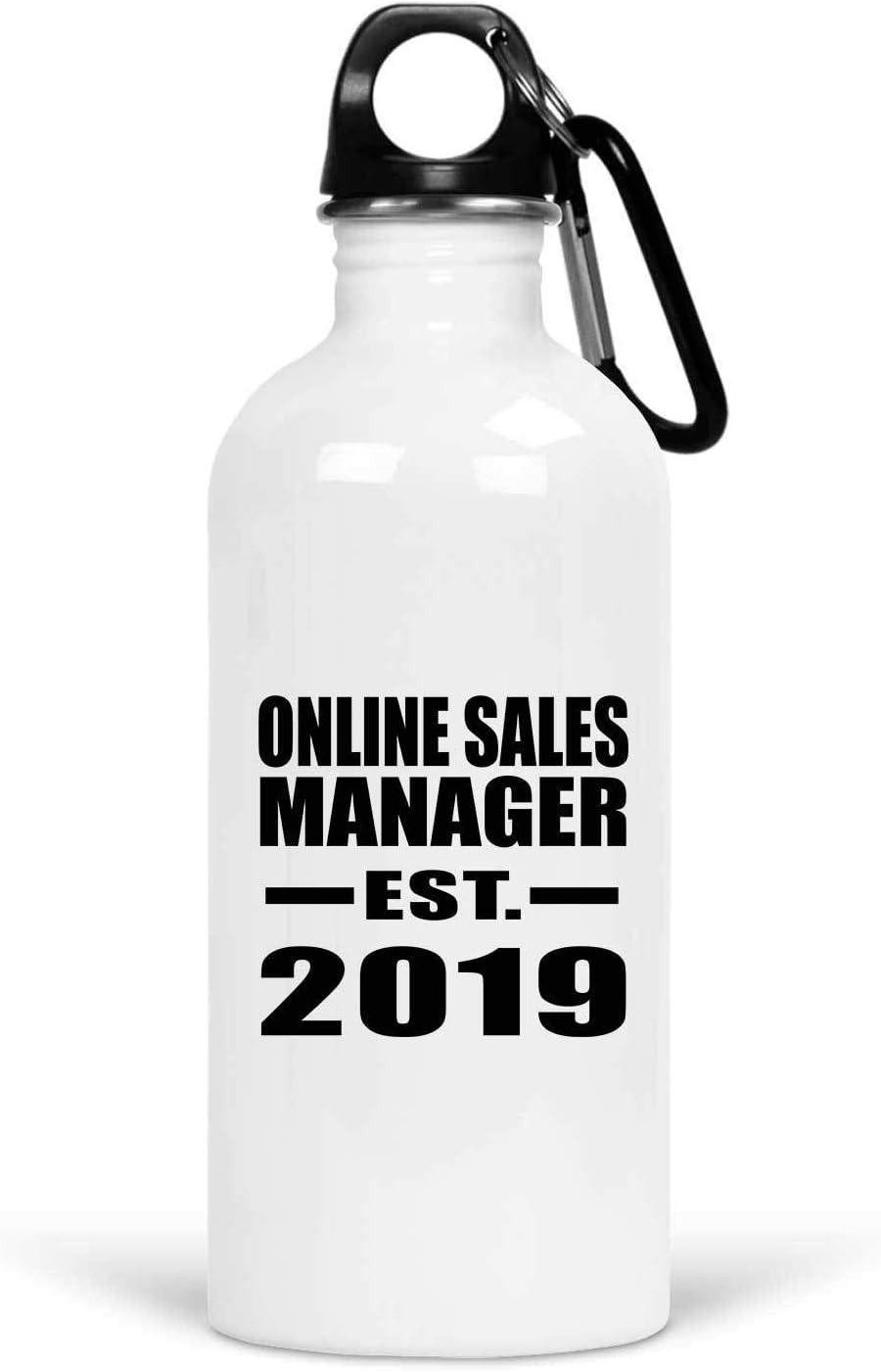 Designsify Online Sales Manager Established EST. 2019-20oz Water Bottle Botella de Agua, Acero Inoxidable - Regalo para Cumpleaños Aniversario el Día de la Madre o del Padre