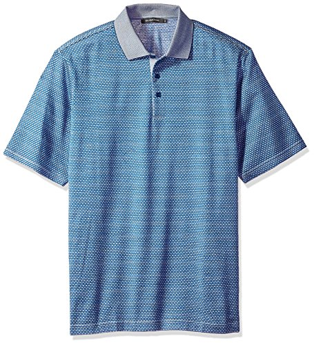 Bugatchi Men's Mercerized Cotton Short Sleeve Polo Shirt, Navy M