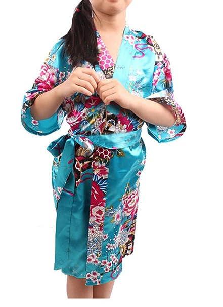 YueLian Niña Kimono Pijama Elegante Cómodo Pijama Bata para Casa con Flores (azul)