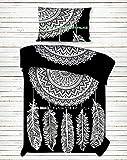 Kiara 3 Pcs Mandala Bedding Posture Million Romantic Soft Bedclothes Plain Quilt Coverlet Twill Bohemian Boho Duvet Cover Set Queen / Twin Size (BW Dream Catcher, Twin)