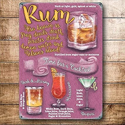 Ron Cocktail Time, Bebida Recetas Fiesta Cócteles, Padre - 40 x 30 cm