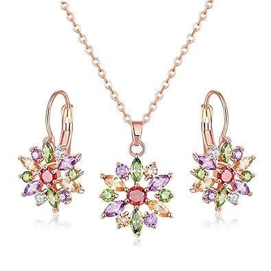 3089d082b17 Jösva Parure de Bijoux pour Femme avec Collier et Boucles d oreilles en  Forme de