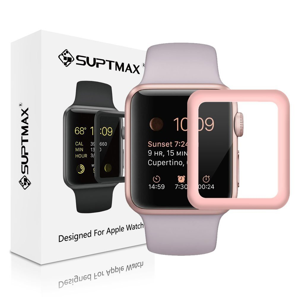 [Specially for Series 1] SUPTMAX Screen Protector for Apple Watch [Full Coverage] [Scratch Free] Apple Watch 38mm Series 1 Face Cover (38mm Rose Gold)