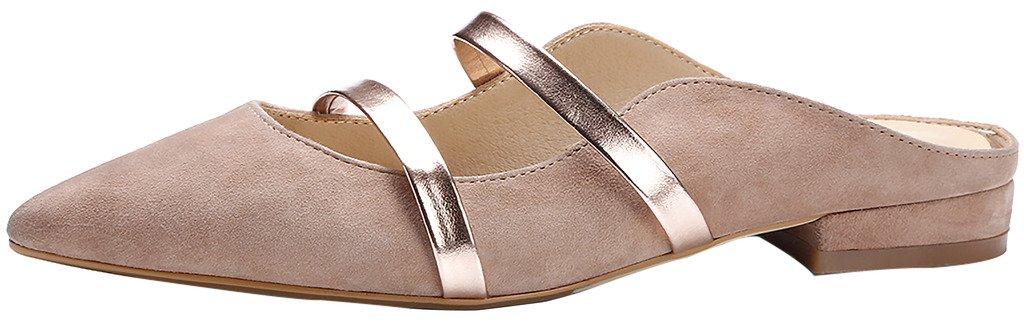Calaier Mujer Cacommon Plataforma 1CM Cuero Ponerse Zuecos Zapatos 36.5|Marrón