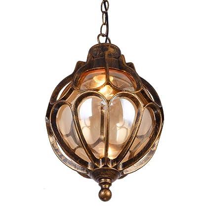 Naiyn al Aire Libre a Prueba de Agua Luces Colgantes de Techo Vintage Bola de Aluminio a Prueba de Lluvia Exterior lámparas Colgantes Continental ...