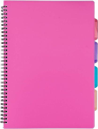 Tiger 301475 - Libreta de proyectos A4 (4 separaciones, con cubierta de plástico), Colores aleatorios: Amazon.es: Oficina y papelería