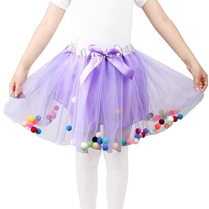 3fb9583c1 LUOEM Baby Girls Tutu Skirts Kids Elastic Waist Pettiskirt Girl Princess  Tulle Skirt Colorful Pompom Mini Skirts Children Clothing(Purple, ...