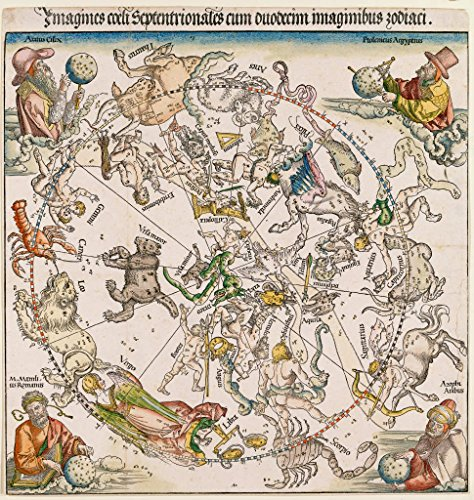 kunst für alle Art Print/Poster: Albrecht Dürer Karte des nördlichen Sternhimmels Picture, Fine Art Poster, 33.5x35.4 inch / 85x90 cm