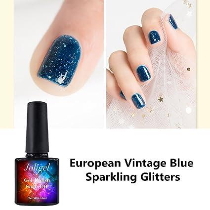 Joligel Esmalte Semipermanente para Uñas Gel UV LED Shellac Manicura Pedicura Permanente Soak Off, Azul