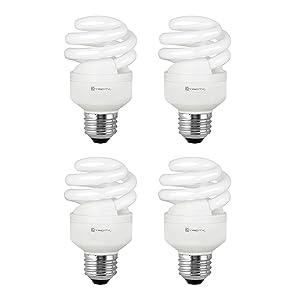 Compact Fluorescent Light Bulb T2 Spiral CFL, 4100k Cool White, 9W (40 Watt Equivalent), 540 Lumens, E26 Medium Base, 120V, UL Listed (Pack of 4)