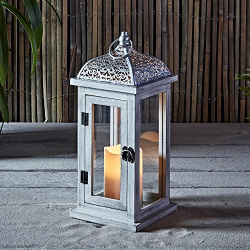 Lights4fun, Inc. Rustic White Wooden Battery Operated Outdoor LED Flameless Candle Lantern
