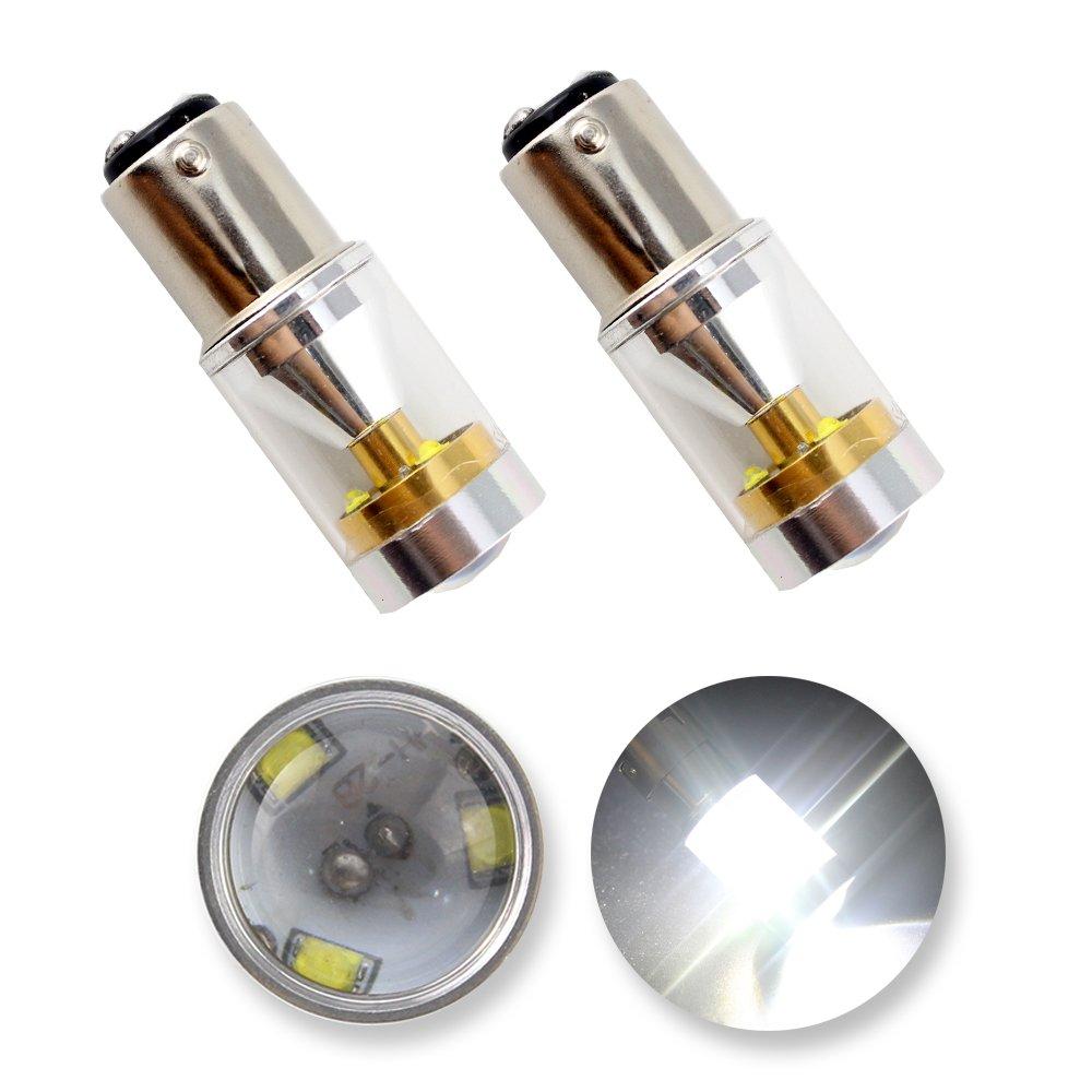 GrandView Lot de 2ampoules super lumineuses 1157BAY15D pour clignotants, freins, feux arrière de voiture LED CREE 800lumens 4,2W 12VBlanc
