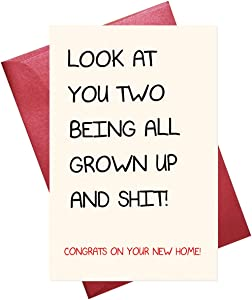 Funny Housewarming Card, New Home Card, Funny Congratulations Card for Housewarming, Moving House, Blank Inside (5.3'' x 8'' folded)