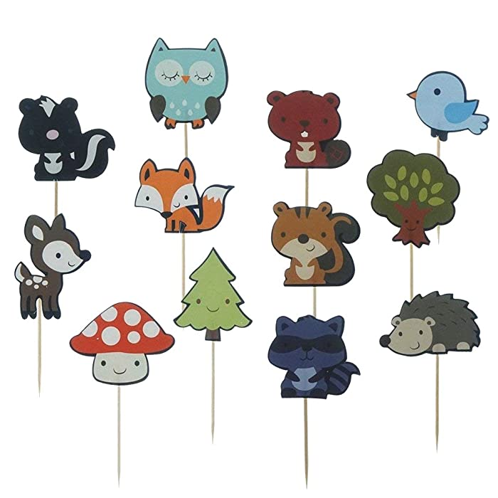Shxstore Woodland Creatures Theme Cupcake Toppers Forest Animals Friends Cake Toppers Picks for Birthday Wedding Party Decor, 24 Counts