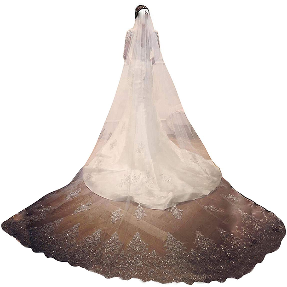 Faithclover Wedding Veils White Ivory 1 Tier Cathedral Beaded with Rhinestones Long with Comb, 3 Meters