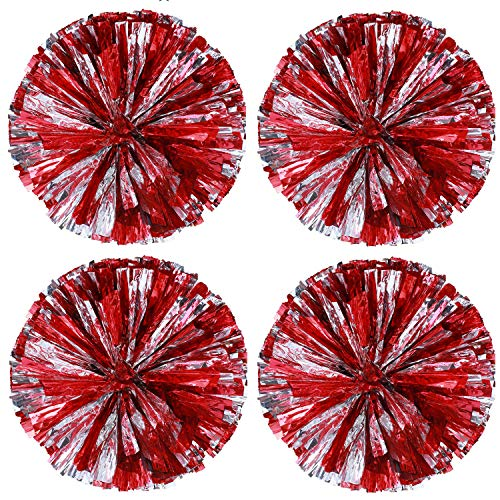 4 Pack Cheerleading Pom Poms Sports Dance Cheer Plastic Pom Pom for Sports Team Spirit Cheering (Red Silver) -