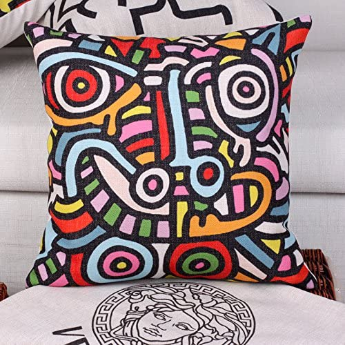 Mugod Body Art Pillow Cases Modern Keith Haring Abstract Graffiti Printing Grey Balck Throw Pillow Cover Cotton Linen Indoor 18x18 Inch Square Cushion Cover for Office Sofa Couch