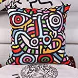 Elliot_yew Popular Decorative Keith Haring Street Painting Sanding Fabric Square Throw Pillow Case Cushion Cover Pillowslip Pattern Design 18 x 18 Inches-Pattern 4
