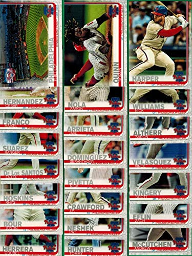 Philadelphia Phillies 2019 Topps Complete Mint Hand Collated 23 Card Team Set with Bryce Harper and Rhys Hoskins Plus