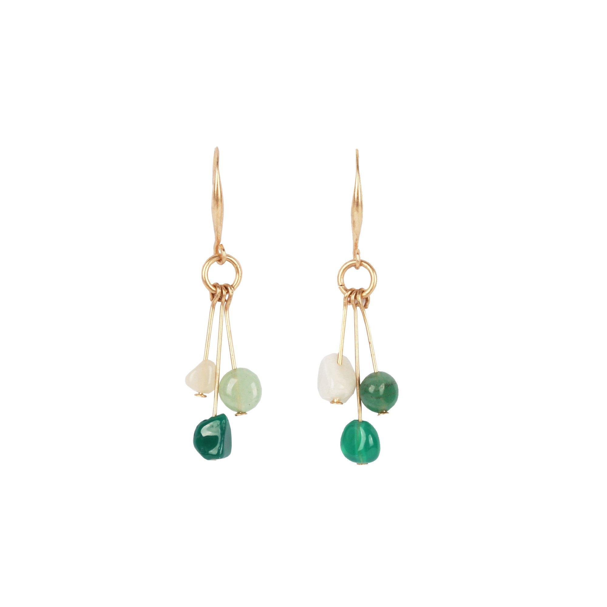 BLING VIOLET Green Stone Flows Elegant Drop Earrings, Nickel Free Jewelry for Women,Girls