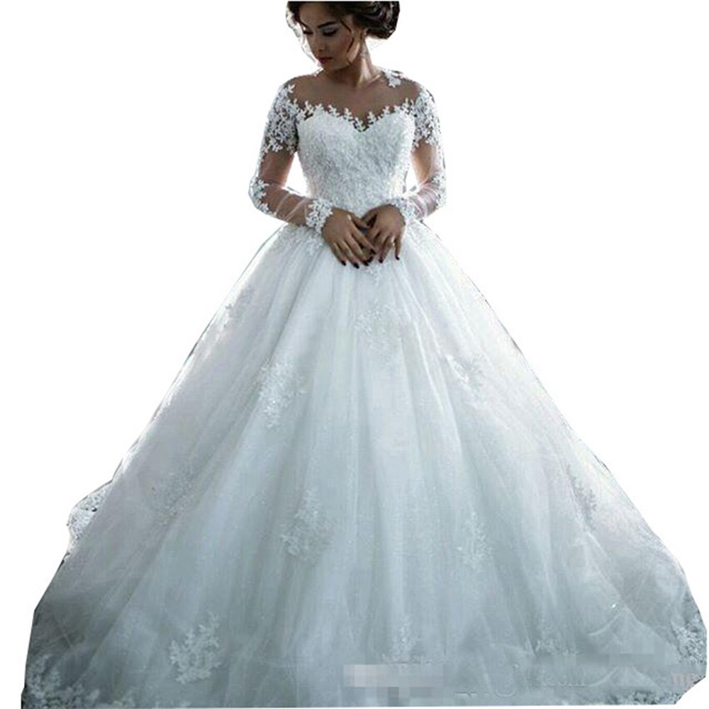 Fanciest Women's Lace Wedding Dresses Long Sleeve Wedding Dress Ball Bridal Gowns White US18W