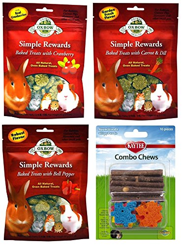 Oxbow Simple Rewards All Natural Oven Baked Treats and Kaytee Combo Chew Variety Pack - 3 Flavors (Bell Pepper, Carrot & Dill, and Cranberry) - 2 Ounce Resealable Bags