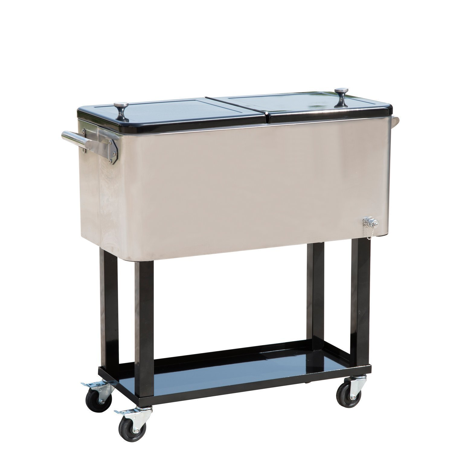 Amazon.com : Tenive 80 Quart Stainless Patio Cooler Portable Ice Cooler  Cart Rolling Party Drink Entertaining Outdoor Cooler Cart   Silver : Patio,  ...