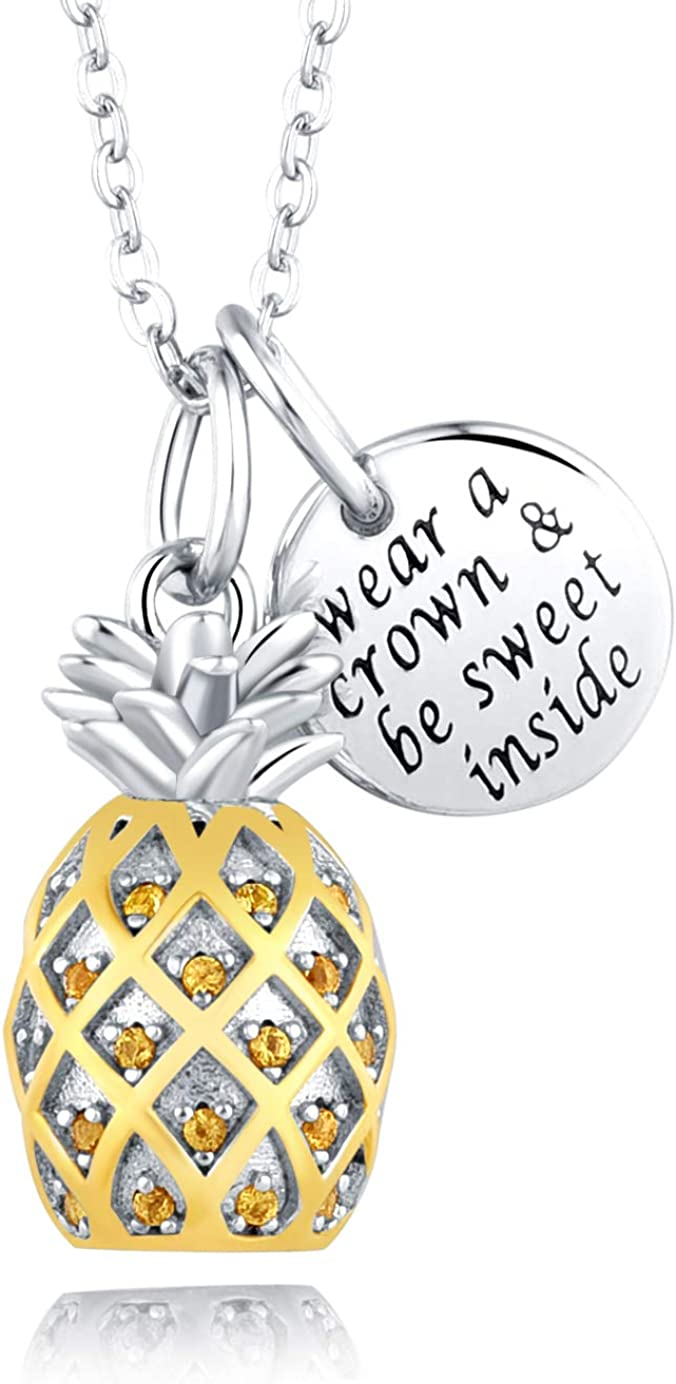 Sterling Silver 3D Pineapple Necklace Inspirational Message Jewelry CZ Pineapple Pendant Birthday Graduation Christmas Gift for Girls Women 18''