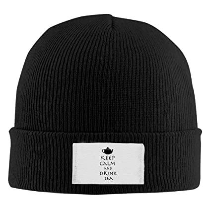 54bf14e97 Amazon.com: TQOIAS Keep Calm and Drink Tea Beanie Hats Cool Stocking ...