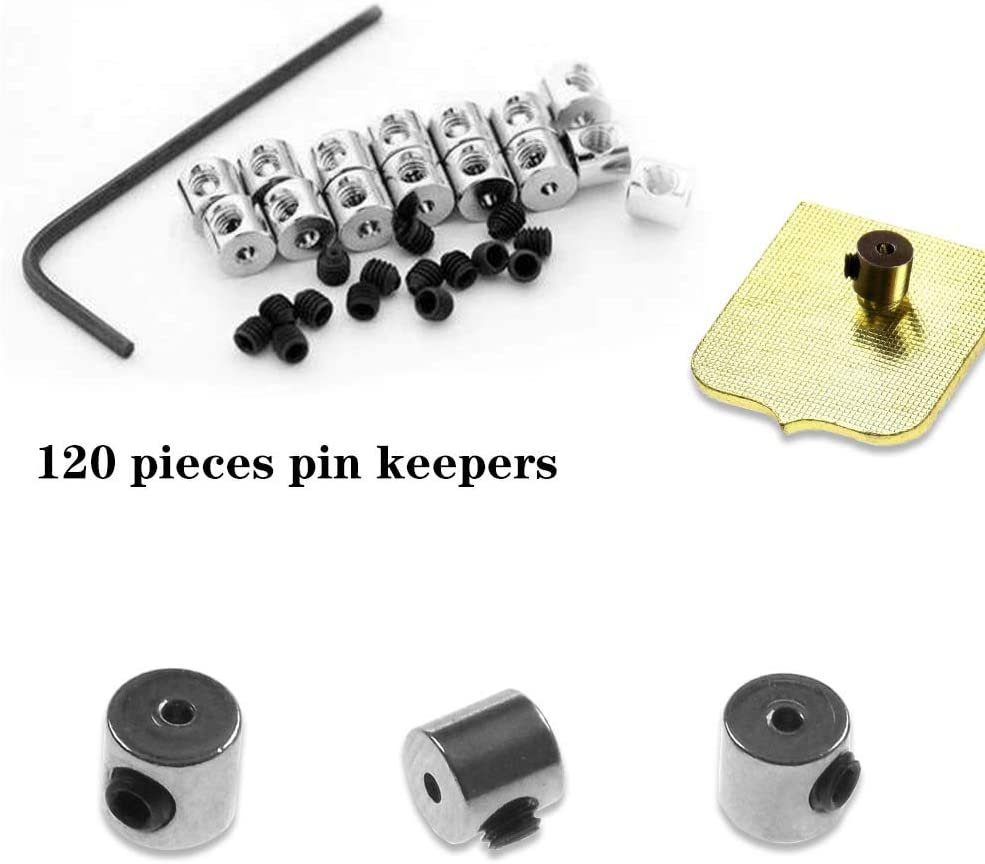 Cooyeah 120 Pieces Locking Pin Backs Pin Keepers Pin Locks Pin Backs Locking Clasp with 10 Piece Wrench-6 x 5 mm