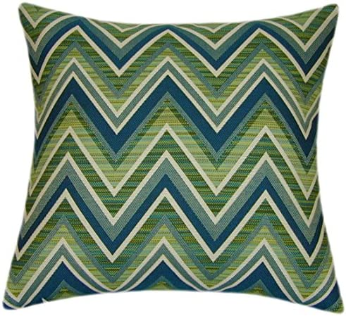 Sunbrella Fischer Lagoon Indoor/Outdoor Chevron Striped Patio Pillow 14×14 Small