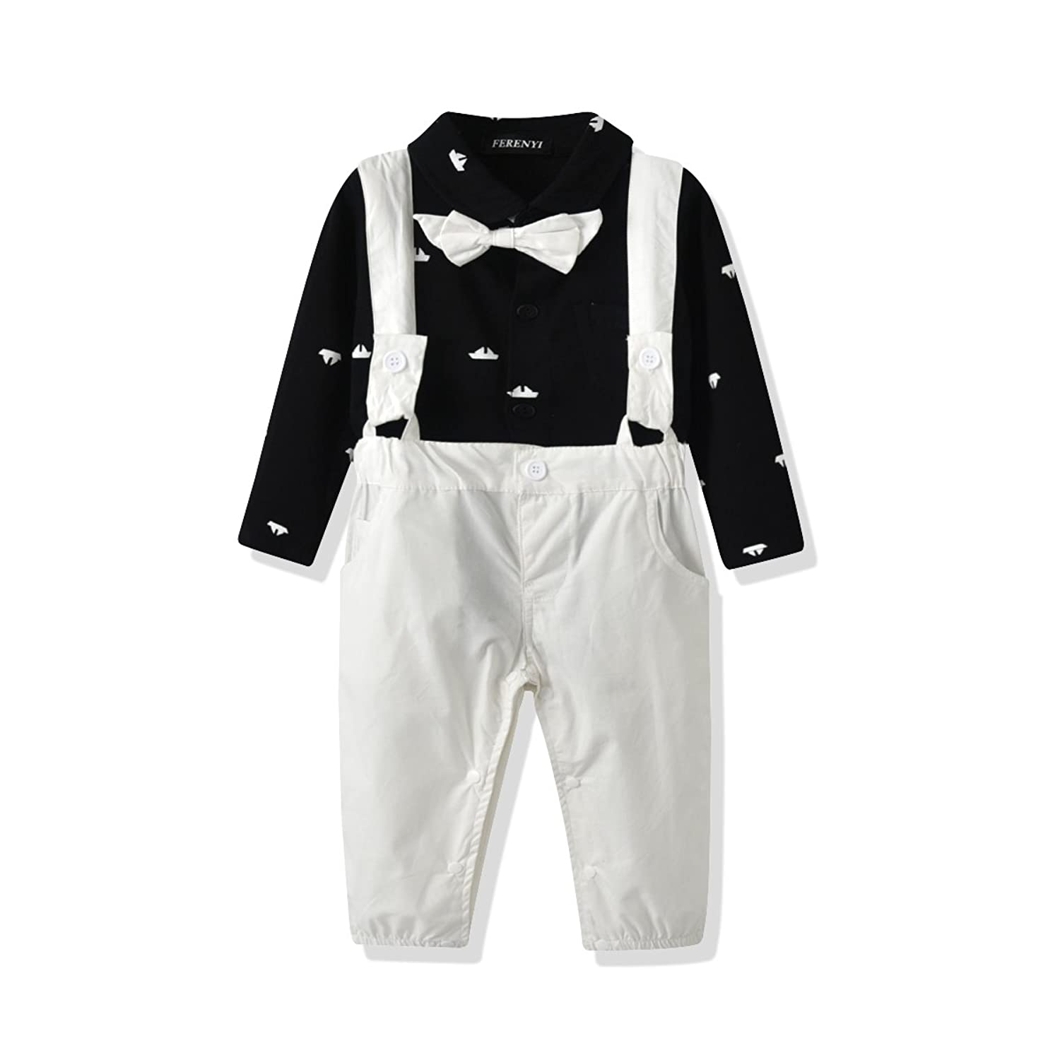 f8790f1e9 Online Cheap wholesale FERENYI US Baby Boys Bowtie Gentleman Romper  Jumpsuit Overalls Rompers Rompers Suppliers