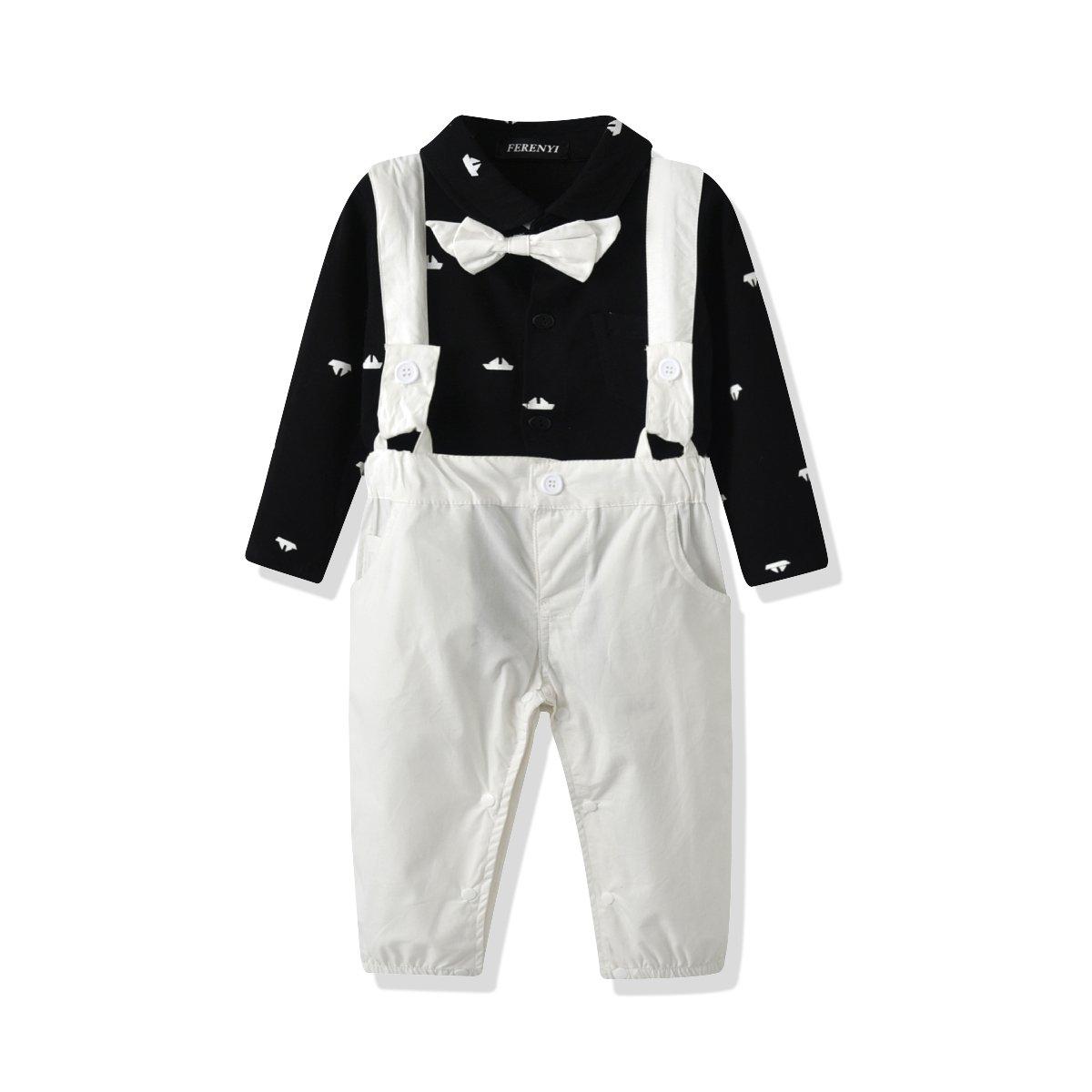 431416c2c FERENYI US Baby Boys Bowtie Gentleman Romper Jumpsuit Overalls Rompers (0-6  Months,
