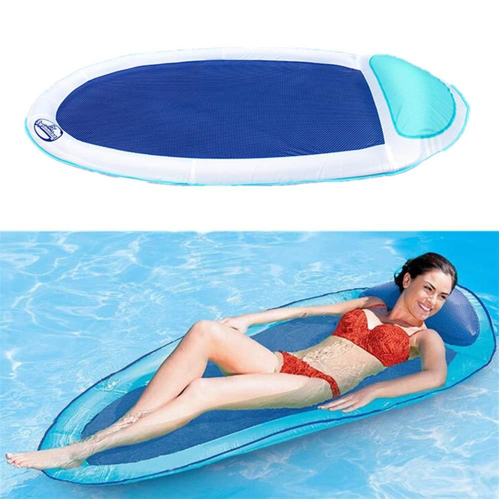 QHDZ tragbar Aufblasbarer Swimmingpool-Ruhesessel, schwimmender aufblasbarer Hin- und Herbewegungsschwimmwasser-Hängematten-Pool-Aufenthaltsraum-Bett-Stuhl für Camping