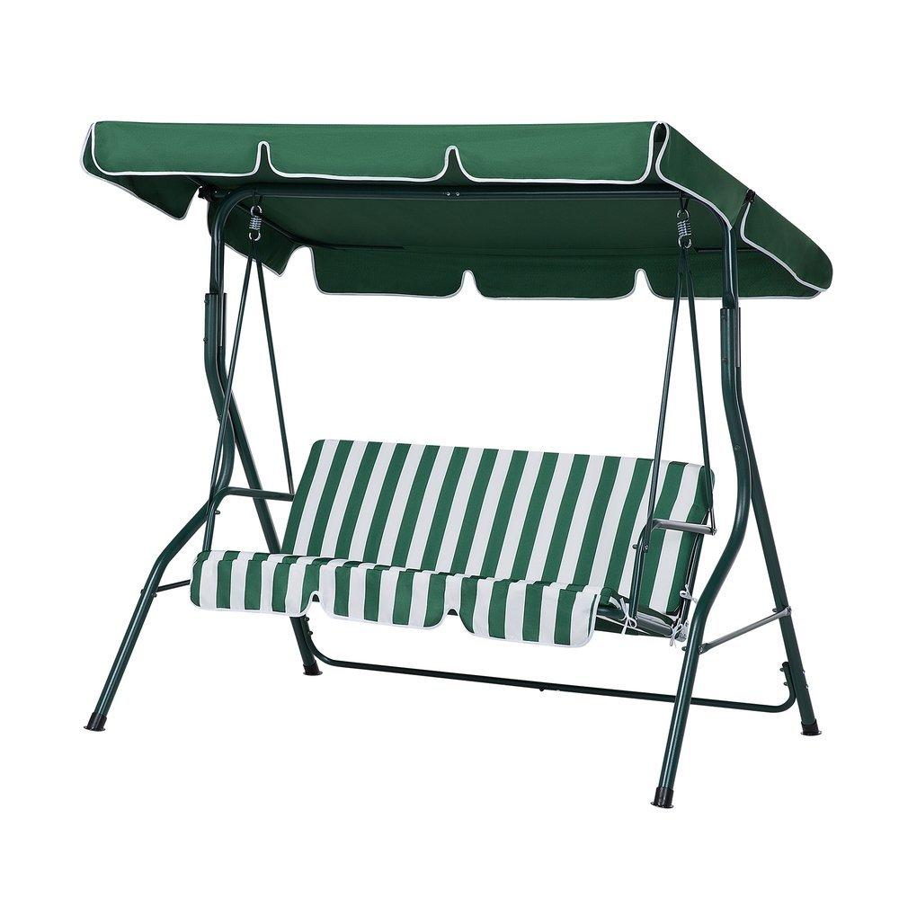Beliani Columpio de jardín - 3 plazas - Verde Blanco - Chaplin