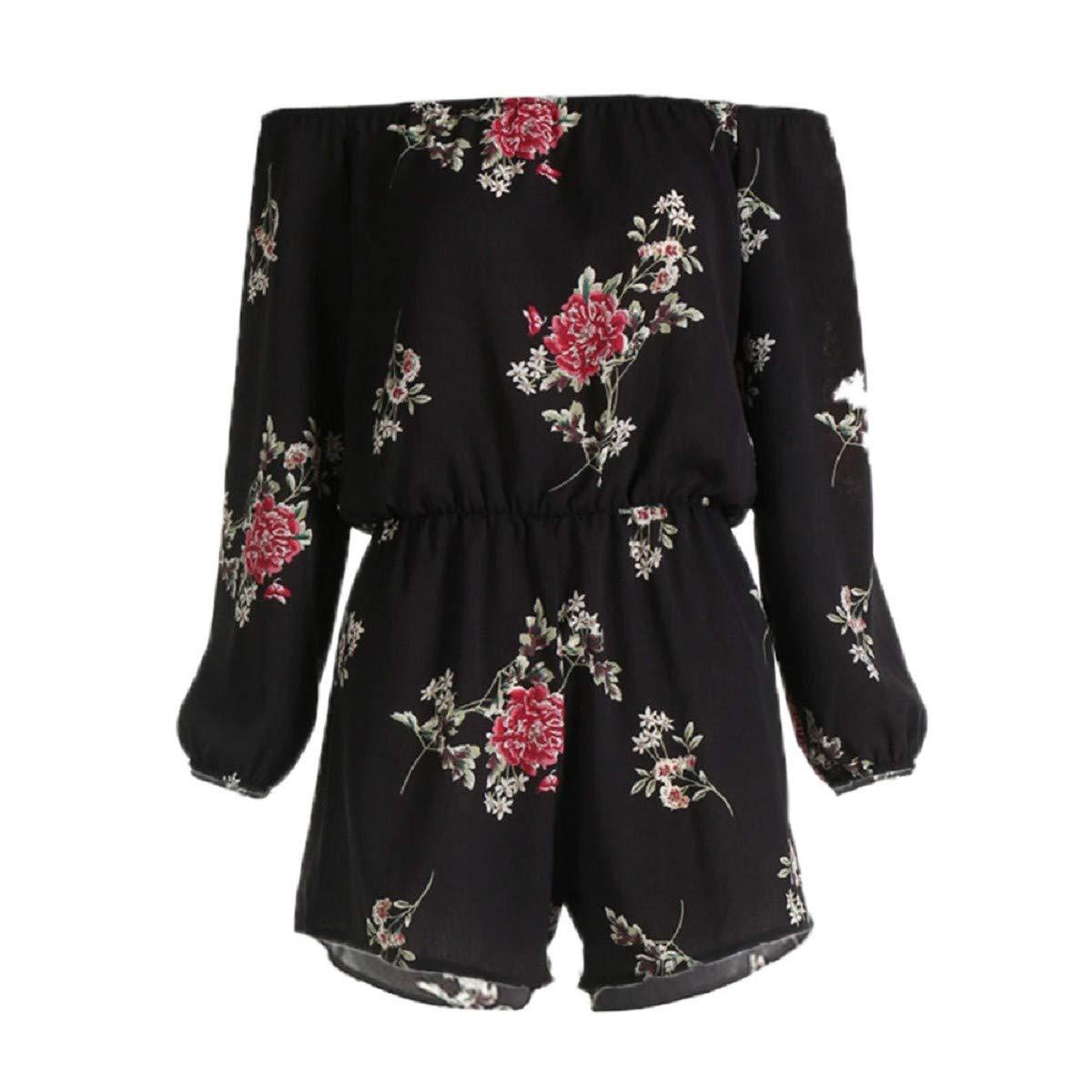 OTINICE Women Long Sleeve Jumpsuit Summer Floral Off Shoulder Backless Loose Party Short Rompers Black