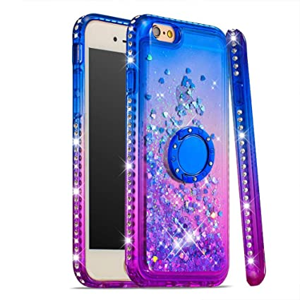 Case for iPhone 6S/6,Brilliant Flowing Liquid Cases with Moving Sequins Diamond-Set Side 360 Degree Rotate Finger Ring Stand Mount Glitter Sparkle ...