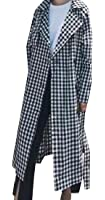 Gnao Women Stylish Plaid Lapel Double-breasted Belted Long Trench Coat