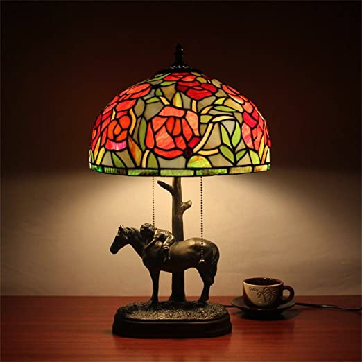 12 Inch Rose Tiffany Table Lamp With Horse Base Amazon Com