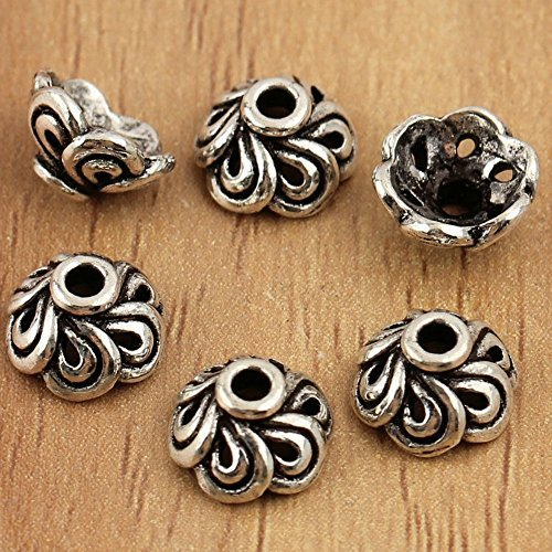 (10x 925 Sterling Silver Bali Bead Caps, Sterling Silver Findings, Antique Silver Bead Cap, Mala Bead Cap, Petal Bead Caps)