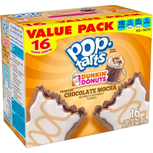 Kellogg's Pop-Tarts Dunkin' Donuts Frosted Chocolate Mocha Toaster Pastries, 16ct 28.2oz (1) by Dunkin' Donuts